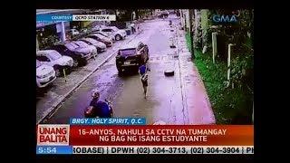 UB: 16-anyos, nahuli sa CCTV na tumangay ng bag ng isang estudyante