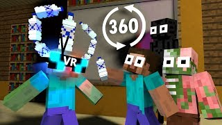 360º VR  Monster School : EPIC BOTTLE FLIP Challenge in Minecraft  - Minecraft Animation