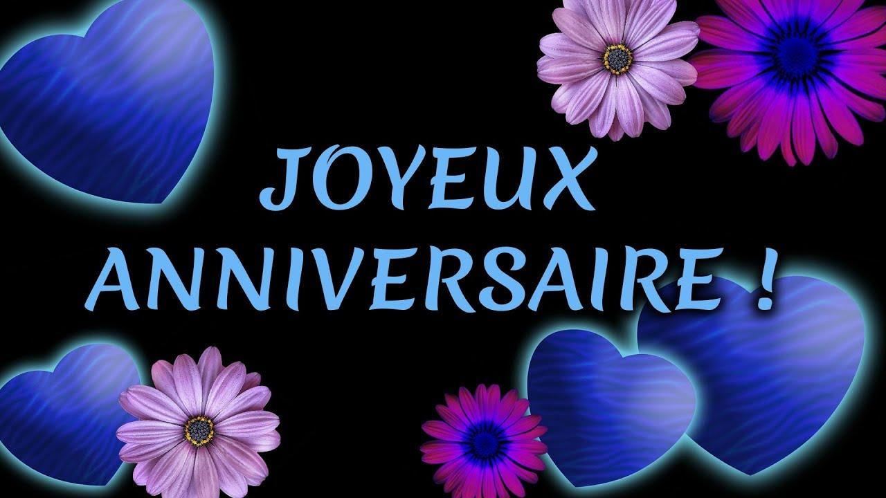 Joyeux Anniversaire Jolie Carte Virtuelle D Anniversaire Paillettes Et Fleurs Youtube