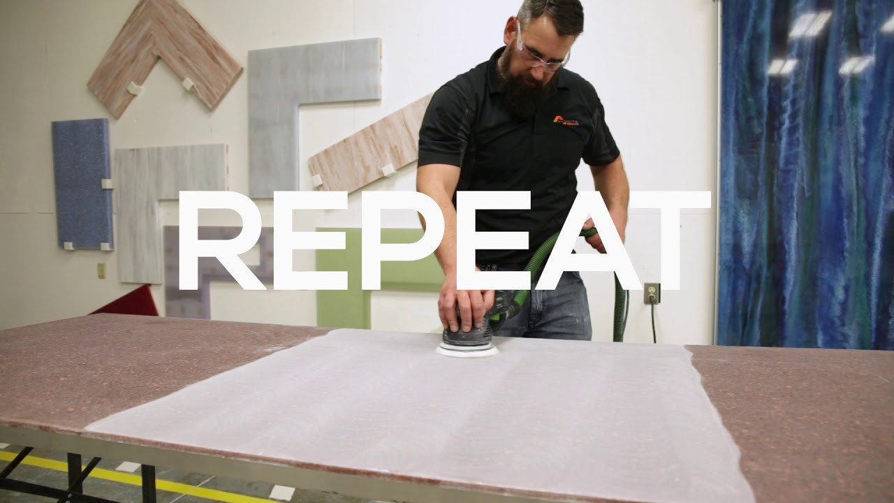 Avonite Surfaces® And STUDIO Collection® Fabrication Video   How To Obtain  A Satin Finish