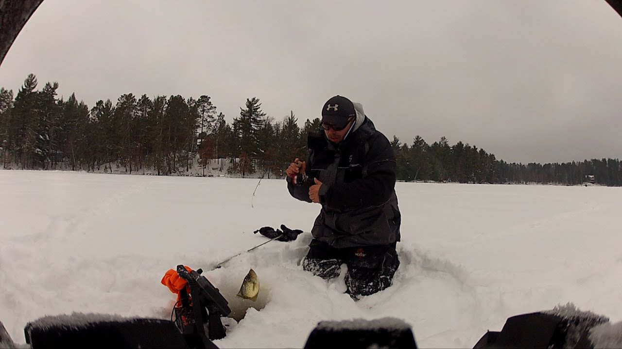 Ice fishing bluegills and crappies in wisconsin youtube for Ice fishing bluegill