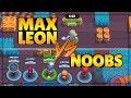 MAX LEON VS NOOBS IN BIG GAME   Brawl Stars Funny Big Game Moments