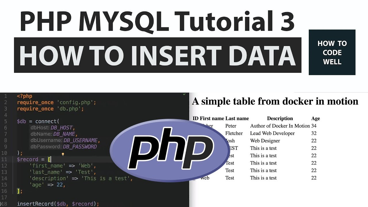 Php mysql tutorial 3 how to insert records into a mysql database via php mysql tutorial 3 how to insert records into a mysql database via php baditri Gallery