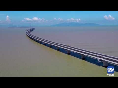 Bird's-eye view of the Hong Kong-Zhuhai-Macau Bridge