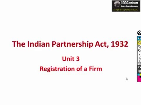 Indian Partnership Act 1932 - Registration of Partnership Firm - CA-CPT (in Hindi)