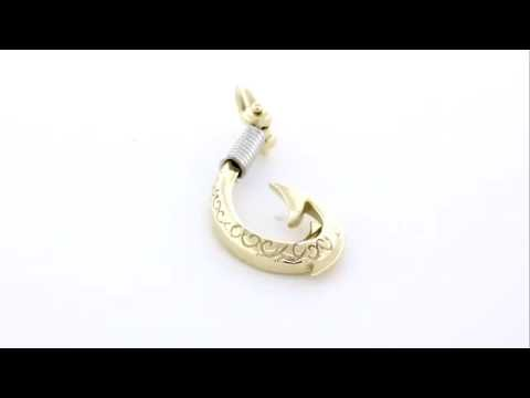 CMZ6247YW1 Sziro Jewelry Large Hei Matau, Maori Tribal Fish Hook Charm in 14k Yellow and White Gold