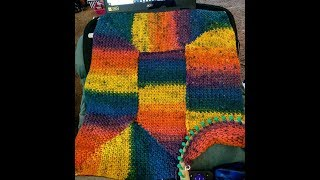 No Purl Loom Knit 10 stitch blanket in Owl Eye Stitch