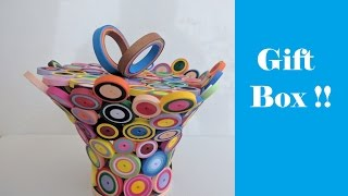 How to make Colourful Gift Box | Quilling | Tutorial