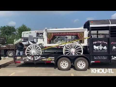 Horse-drawn Carriage For George Floyd's Casket Arrives For Funeral