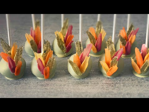Mini brush stroke cake pops! Edible glitter gold brush strokes on cute cake pops!