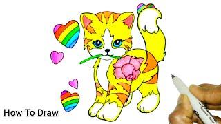 How To Draw A Cąt | Lisa Frank Cat Easy 🐱 | Cartooning Cute Drawings