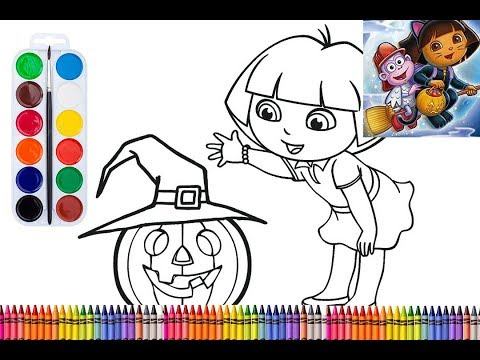 Art for Kids – Fun with Dora in Halloween – Drawing & Painting – Zizi Coloring Toys