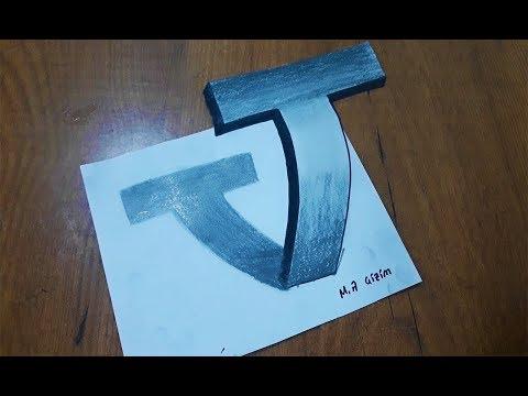 """3 Boyutlu T Harfi Nasıl Çizilir__How to draw a 3d letter """"T"""""""