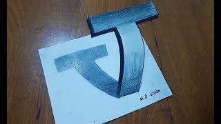 3 Boyutlu T Harfi Nasıl Çizilir__How To Draw A 3d Letter \
