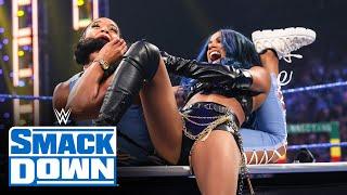 Sasha Banks Carmella and Zelina Vega attack Bianca Belair SmackDown Aug 13 2021