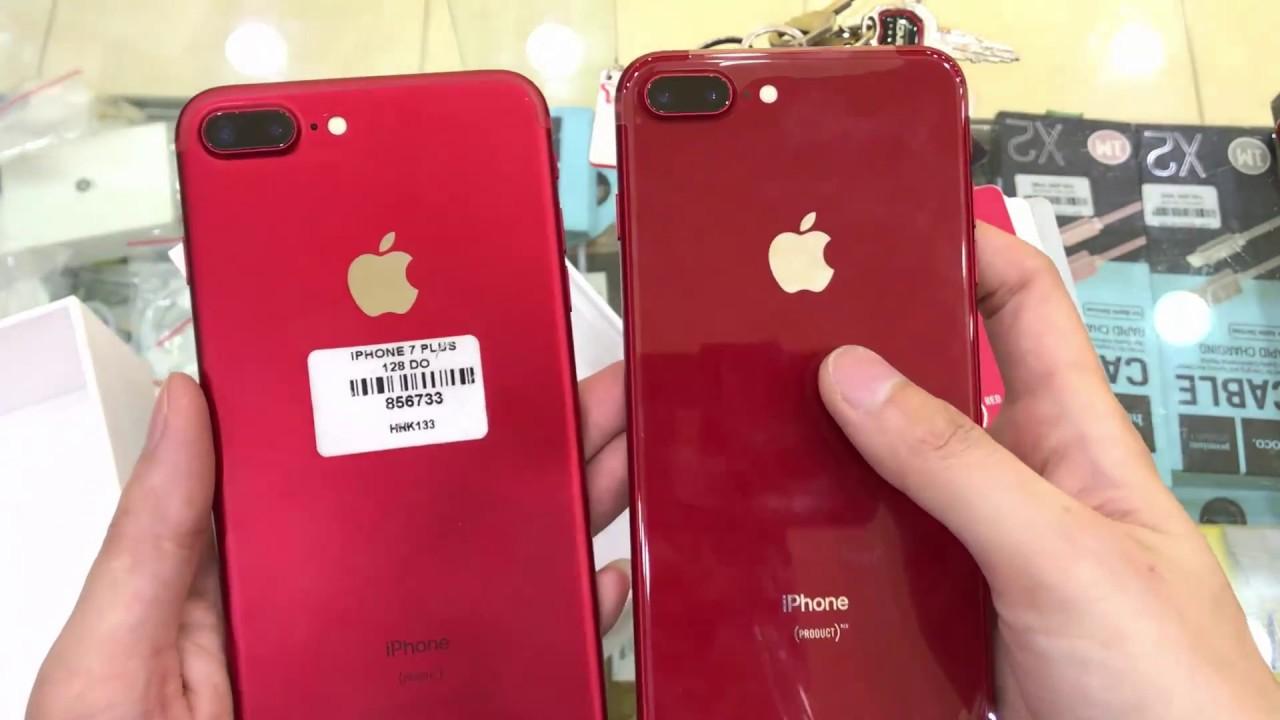 Mở Hộp Iphone 8 Plus Phiên Bản Màu đỏ So Sánh Với Iphone 7