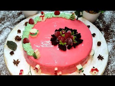 طورطة-لرأس-السنة-كلاصاج-ميروار-وصلصة-الفرومبواز/easy-glaze-cake-with-raspberry-sauce/glaçage-gâteau🎄