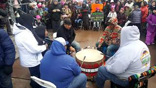 2018 Santa Fe New Mexico Women's March - Cedric Gomez and Pueblo de Cochiti Drum Clip 3