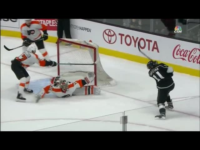 Neuvirth reaches for acrobatic glove save