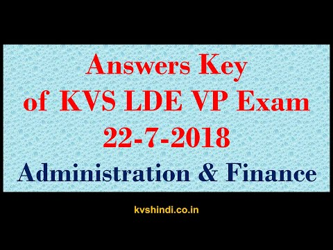 Answer key of KVS VP EXAM Administration and finance (complete)