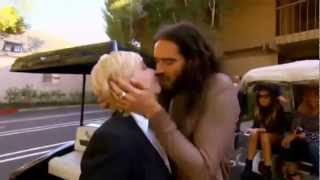 Russell Brand Kisses Reporter and Tries To Undo Her Bra