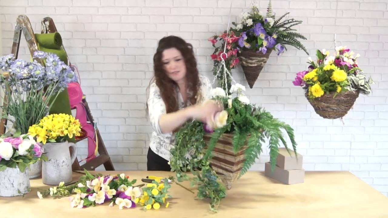 How To Make A Hanging Basket Flowers : How to make a spring hanging basket
