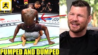 Michael Bisping reacts to Israel Adesanya humping Paulo Costa after the end of their fight,DC on Jon