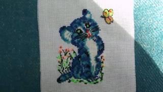 Вышивка крестом: Котёнок с бабочкой