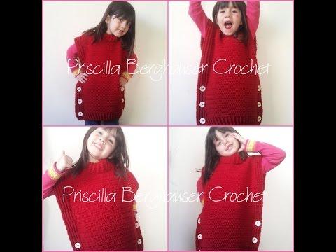 Poncho/ Colete em croche / Crochet poncho / tweed under wraps
