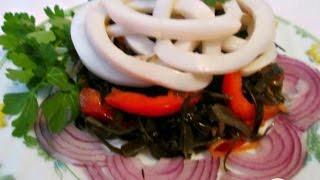 Салат из морской капусты с кальмарами  Пошаговый рецепт