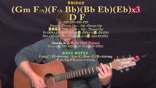 A Lonely Night (The Weeknd) Guitar Lesson Chord Chart - Gm Eb F Bb D