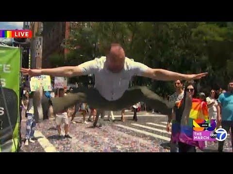 World Pride 2019: New York City Council Corey Johnson jumps for Pride