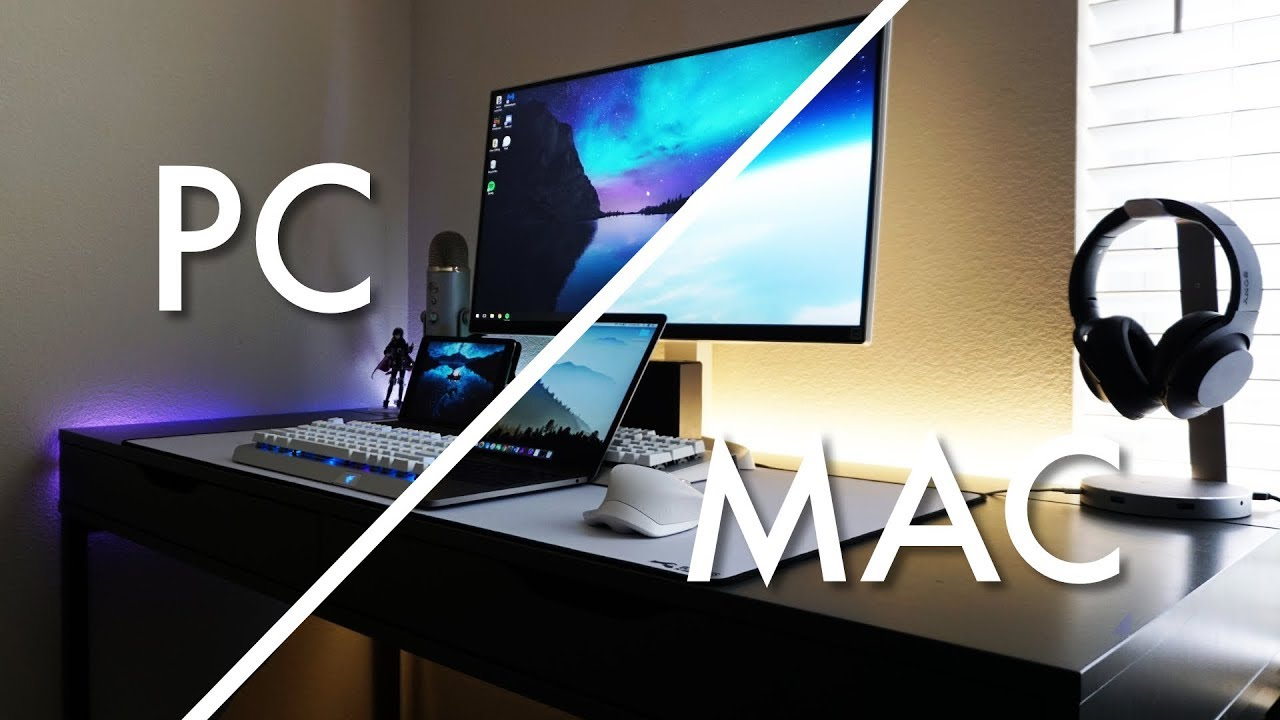 2018 Dual Mac And Pc Desk Setup Tour