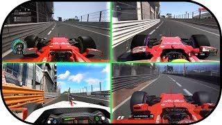 Project Cars 2 vs F1 2017 vs Assetto Corsa vs Real Life.  Monaco Grand Prix Hot lap Formula 1