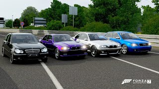 Forza 7 drag race: bmw m3 e46 vs audi s4 mercedes-c32 amg e36