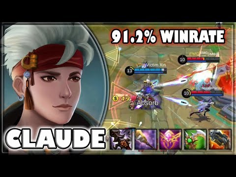 91.2% Winrate with Claude [by Victim Xin] Build & Gameplay ~ Top 4 Global ~ Mobile Legends