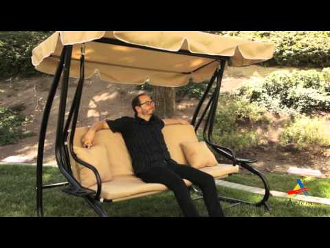 Aosom: Outsunny Covered Outdoor Porch Swing / Bed W/ Frame