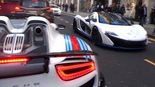 Supercars in London - March 2016 (2 McLaren P1s, 918, 3 Aventador SVs etc)