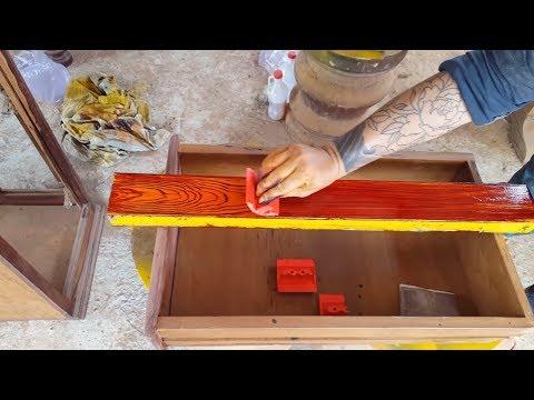 Cách sơn giả gỗ lên sắt mạ kẽm bằng cọ kéo vân -  Create wood grain on iron
