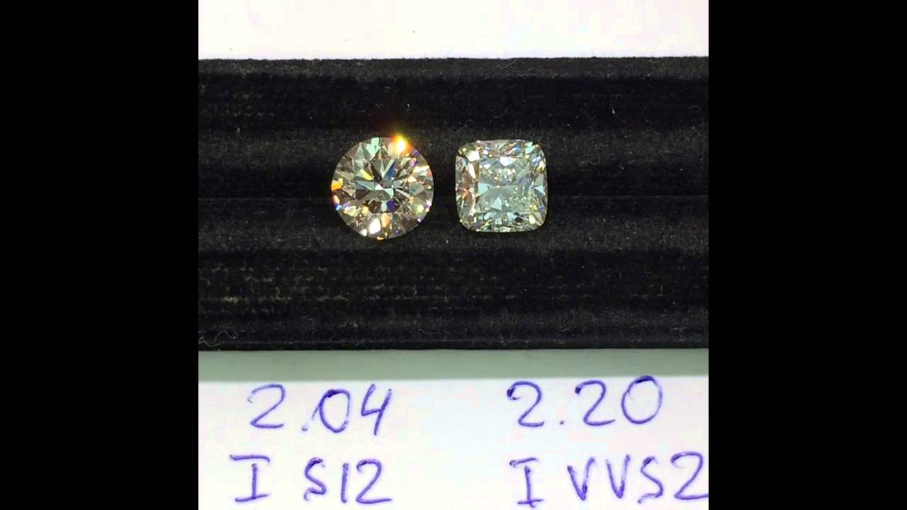 Comparison Of 2 00 Carat Round Cut And 2 20 Cushion Cut Diamonds