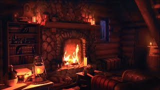 Wood Cabin Ambience | Heavy Snowstorm and Crackling Fireplace Sounds