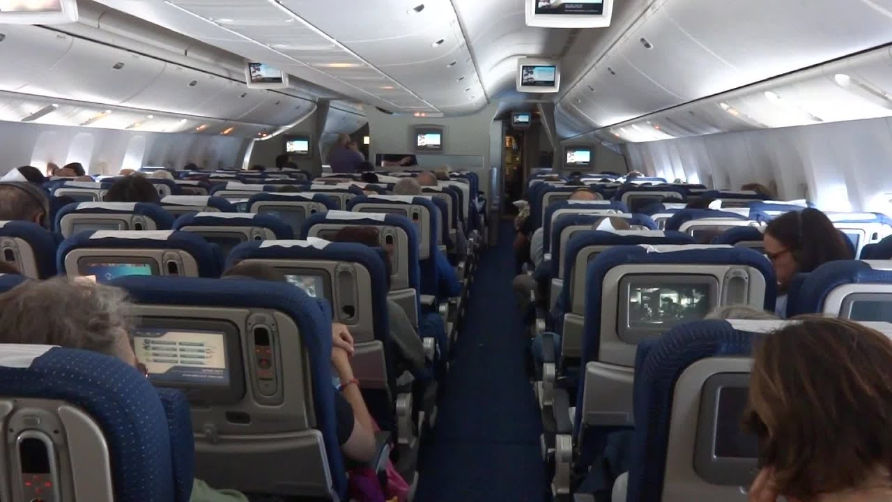 The interior of the passenger aircraft created in the style of Star wars