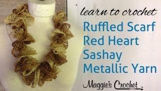 Crochet Ruffle Scarf Sashay Metalic Yarn...