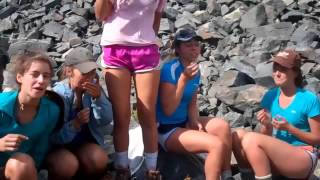 girls eat ants during adventure science outing - desolation wilderness