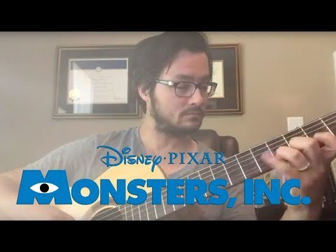 Monsters inc theme solo acoustic guitar finger style how to