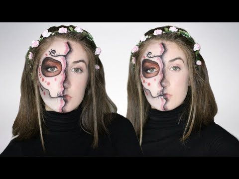 easy half face sugar skull day of the dead makeup
