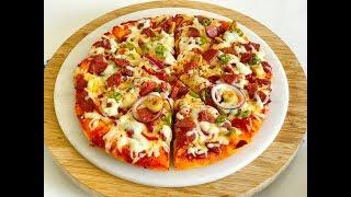 Tavada 10 Dakikada Pizza Nasıl Yapılır ( Muhteşem hamuruyla en pratik pizza)