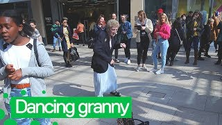 Elderly woman Dances 90's Ibiza Club Anthem in Leeds
