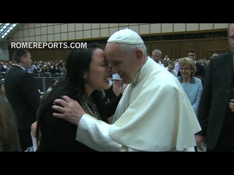 Pope Francis receives Eskimo style greeting