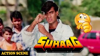 Ajay Devgan In Action Scene For Save Aruna Irani In Suhaag Action Movie